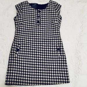 ANTHROPOLOGIE KNITTED DOVE HOUNDSTOOTH SHIFT